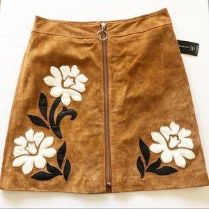 NWT INC International Concepts Suede Flower Skirt